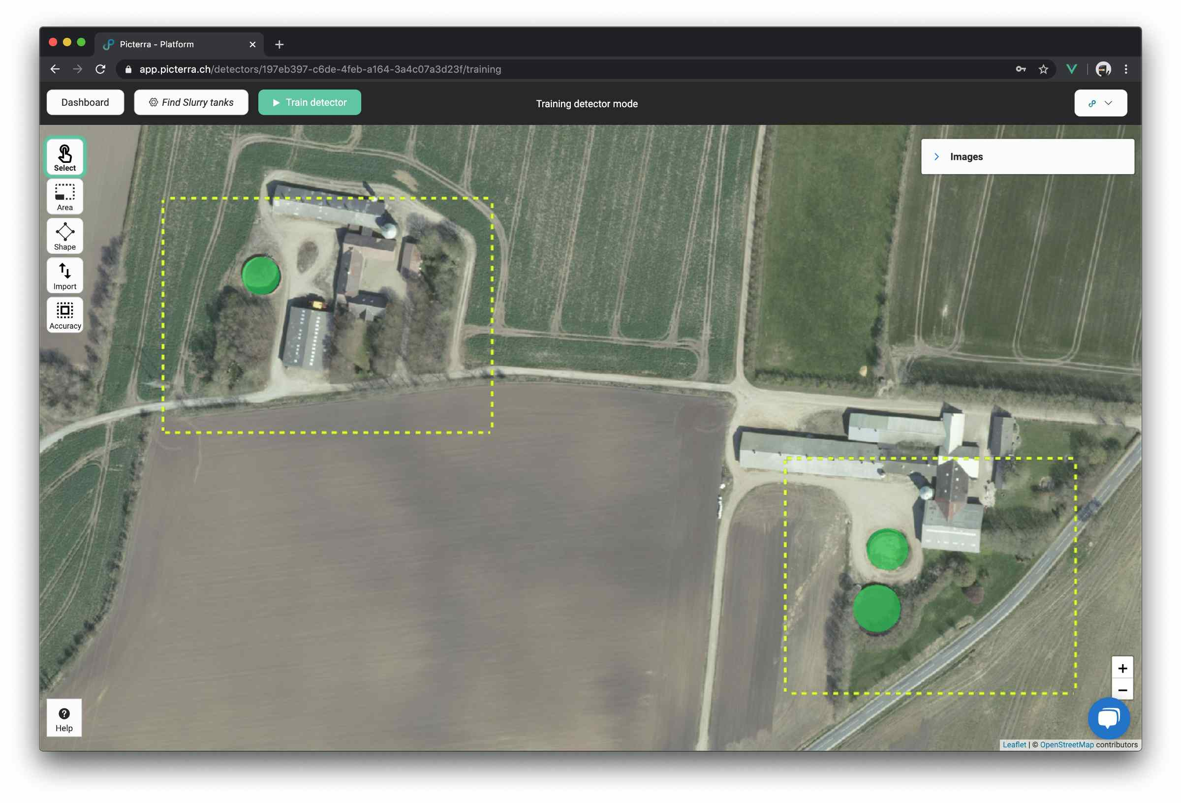 Example of training areas (yellow rectangles) with annotated slurry tanks (green circle).