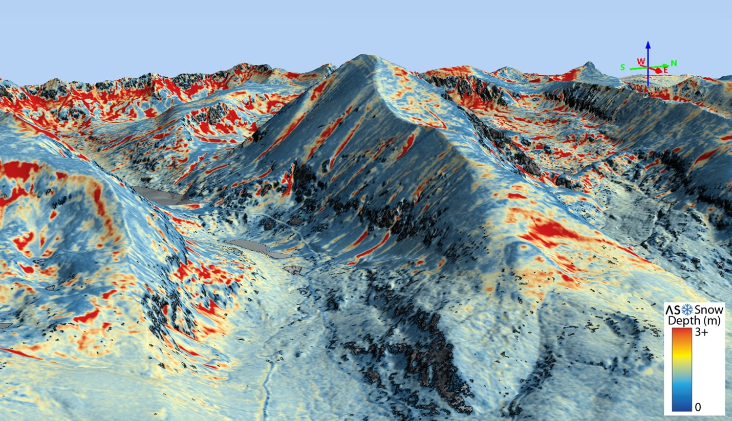 Snow depth across the 14,265' Quandary Peak, Colorado acquired by Airborne Snow Observatories, Inc. with their RIEGL VQ-1560 II-S.