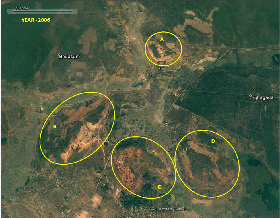 Figure 1. Google Earth imagery of year 2006, showing forest cover mapping